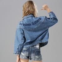 LYFZOUS Bf Style classical Denim Jacket Women Basic Coats 2019 letter Embroidery Lapel Slim Cotton Jackets Female Jean Coat