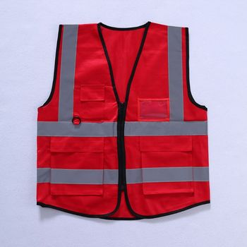 Hi-Vis Safety Vest With Zipper Reflective Security Waistcoat 5 Pockets - discount item  17% OFF Workplace Safety Supplies