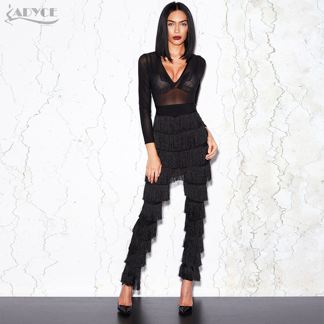 3b6c0cd8f0ba Adyce 2018 High Quality Spring Jumpsuits Women Sexy Deep V Neck Bodysuit  Long Sleeve Mesh Tassels Celebrity Party Long Jumpsuit