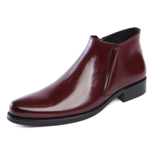 Fashion slim Black /Brown tan mens ankle boots formal shoes genuine leather dress boots mens business shoes boots