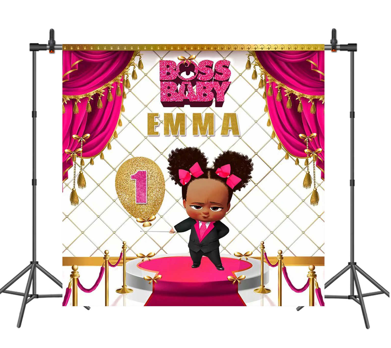 Sensfun Boss Baby Black Girl Birthday Party Backdrop For