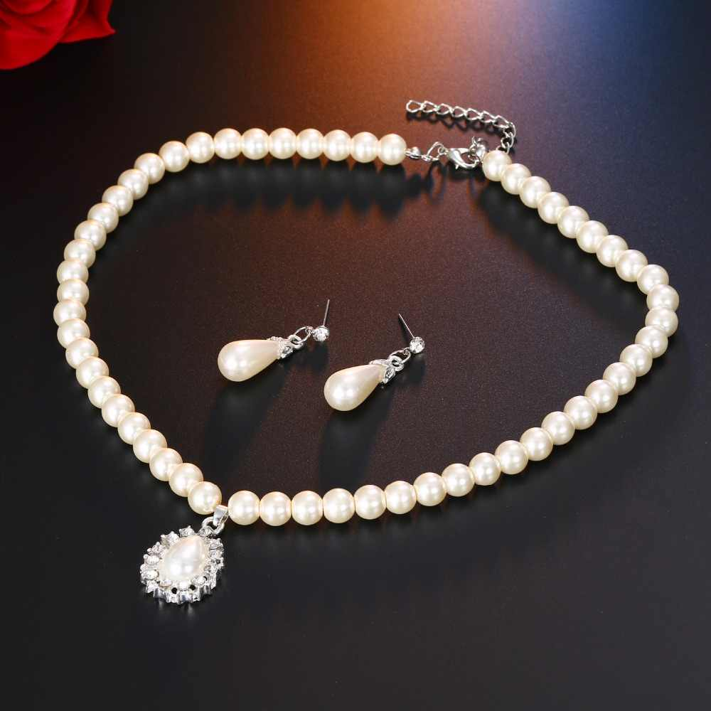 AILEND Pearl Crystal Drop Necklace Stud Earrings Jewelry Set for Women's Wedding Gifts
