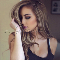 Guanyuhair Ombre Blonde Brazilian Hair Weave 3 Bundles Ash Brown Hair With Highlights Human Hair Extensions P8/613 Piano Color