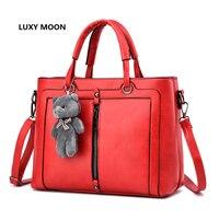 PU Leather Luxury Handbags For Women Cute Bear Designer Sac A Main High Quality Shopping Tote
