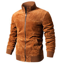 FLAVOR Men's Real Leather Jacket Men Pigskin Slim Fit Genuine Leather Coat With Rib Cuff Standing Collar(China)