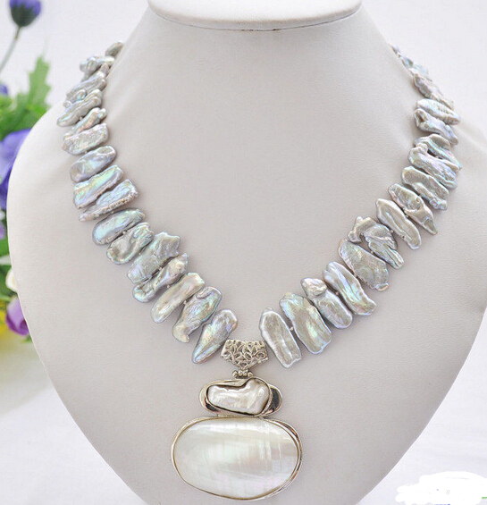 "Wholesale 100% Natural jewelry 17"" 25mm gray biwa dens freshwater pearl necklace mabe pendant"