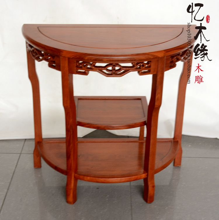 Mahogany furniture, rosewood table frame table Chinese tea semicircle wood flower shelf porch desk phone holder