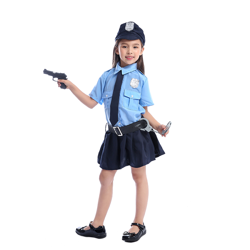 2019 Cute Girls Tiny Cop Police Officer Playtime Cosplay Uniform Kids Coolest Halloween Costume Children's Policewoman Uniform