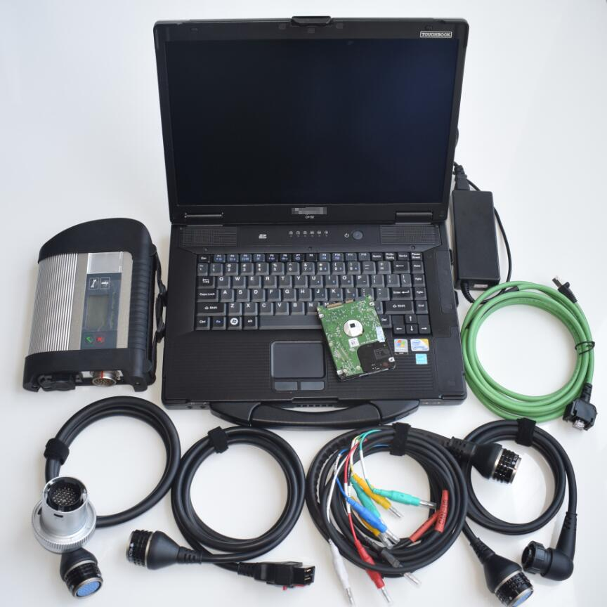 Star diagnostique c4 mb sd compact sans fil avec ordinateur portable cf-52 avec batterie le plus récent logiciel en hdd ensemble complet prêt à l'emploi