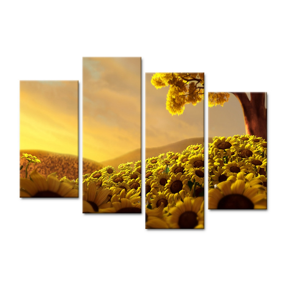 Modern Canvas Pictures HD Printed Wall Art Frame 4 Pieces Sun Shines ...