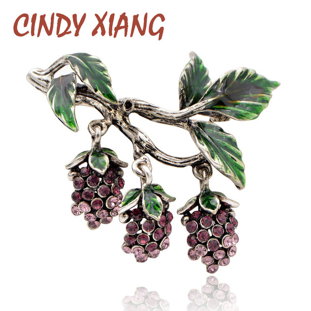 0df046e5a CINDY XIANG Luxury Rhinestone Grapes Brooches for Women Fashion Fruit Pins  Enamel Vintage Design Jewelry Coat Accessories Gift