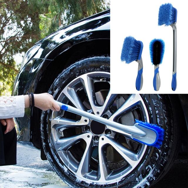 Car Tyre Cleaning Brush Washing Tool Tire Duster Multi Functional Long Handle Car Wheel Brush