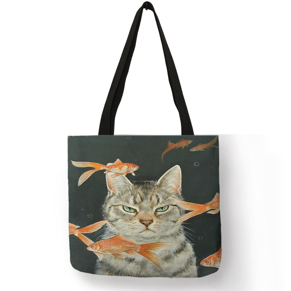 Custom  Creative  Cat Oil Painting Print Tote Bag For Women Lady Casual Handbags Shoulder Bag For Traveling School Shopping Bags