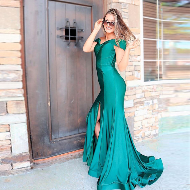 Teal Prom Dresses Off The Shoulder Mermaid Style Front Split Sexy Formal Party Gowns Trumpet Prom Dresses Vestido De Formatura