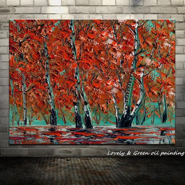 New!!Handpainted Red Tree Modern Knife Oil Paintings On Canvas Wall Painting Wall Art Wall Pictures For Living Room Home Decor