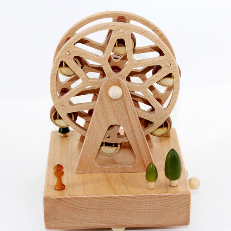 1 Piece Wood Ferris Wheel Music Ofbox Toys For Children Song The City Of The Sky Wind Up Toy clockwork Birthday Gifts For Kids