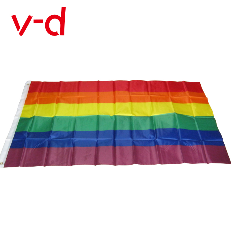 1PCS Large 90cm x 150cm Rainbow Flag 3x5 FT Polyester Flag Gay Pride Peace Flag