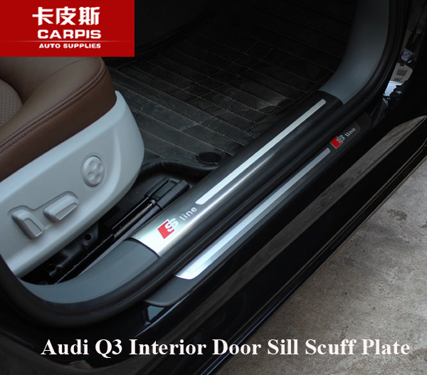 stainless steel car interior door sill scuff plate pad threshold car guards sills for audi q3. Black Bedroom Furniture Sets. Home Design Ideas