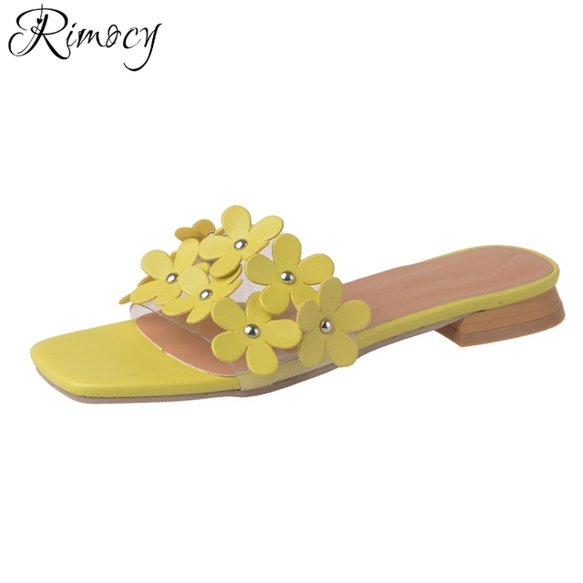 fb0306850b43e Rimocy yellow flowers women summer low heels slides 2017 new design square heel  beach casual sandals ladies flip flops mujer