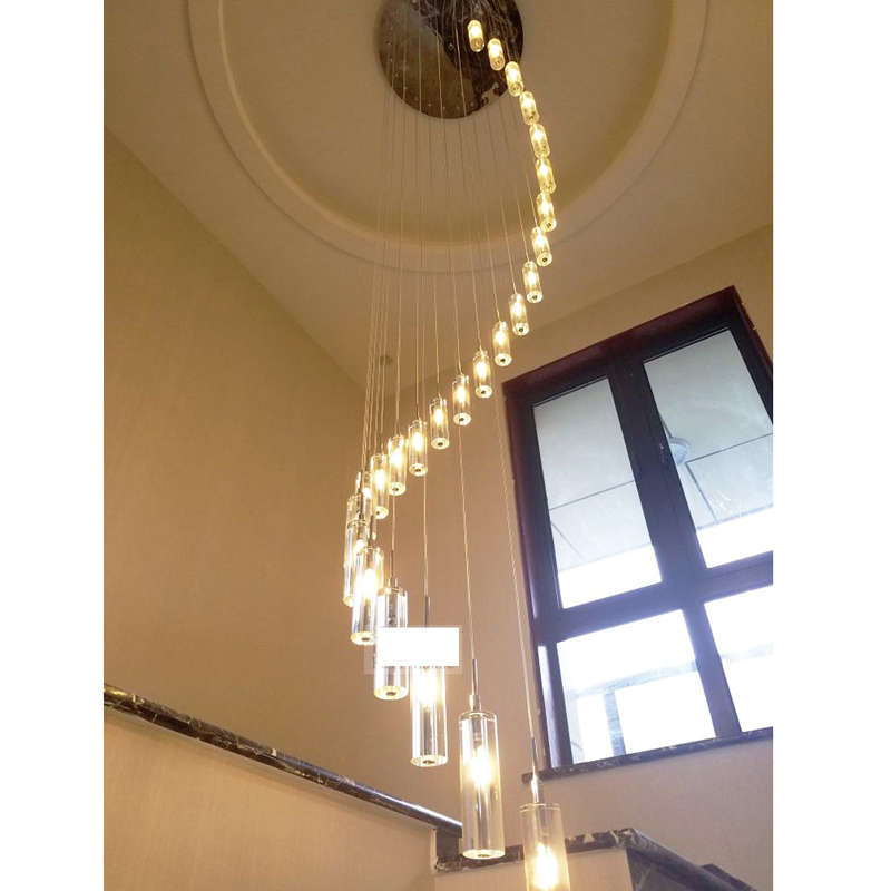 Modern European minimalist creative villa K9 Crystal LED long chandelier rotating multi-stairs living room lighting led lighting modern chinese simple villa crystal block long line led chandelier s type rotating double staircase living room lighting led