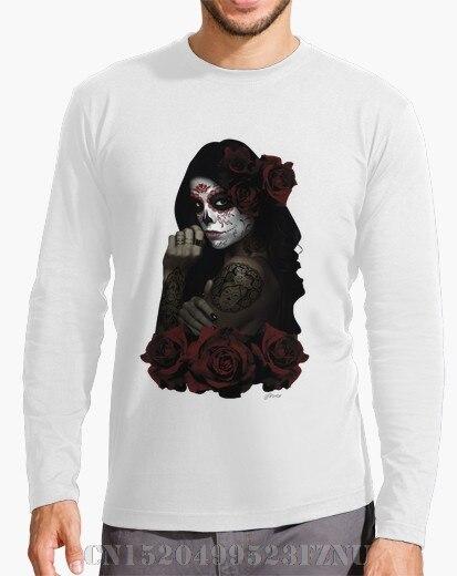 2017 Winter Favourite Long Sleeve t shirt men Catrina Character Long Sleeves Cotton 3d tees men Clothing