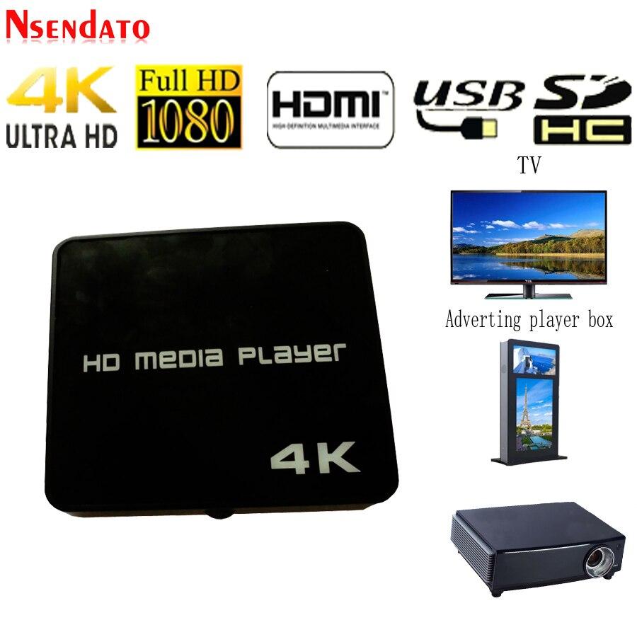 Lecteur multimédia 4K HD 1080P USB vidéo multimédia affichage numérique lecteur publicitaire boîte lecteur multimédia de lecture automatique pour carte AV/USB/SD/TF