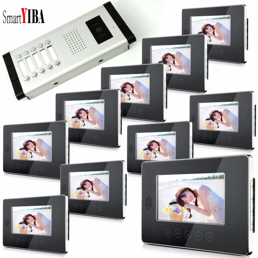 SmartYIBA 10 Units Video Intercom Apartment Door Phone System HD Camera 7Inch Monitor Video Doorbell Access Control System hd apartment building intercom system access control system of intelligent video intercom doorbell project customized wholesale