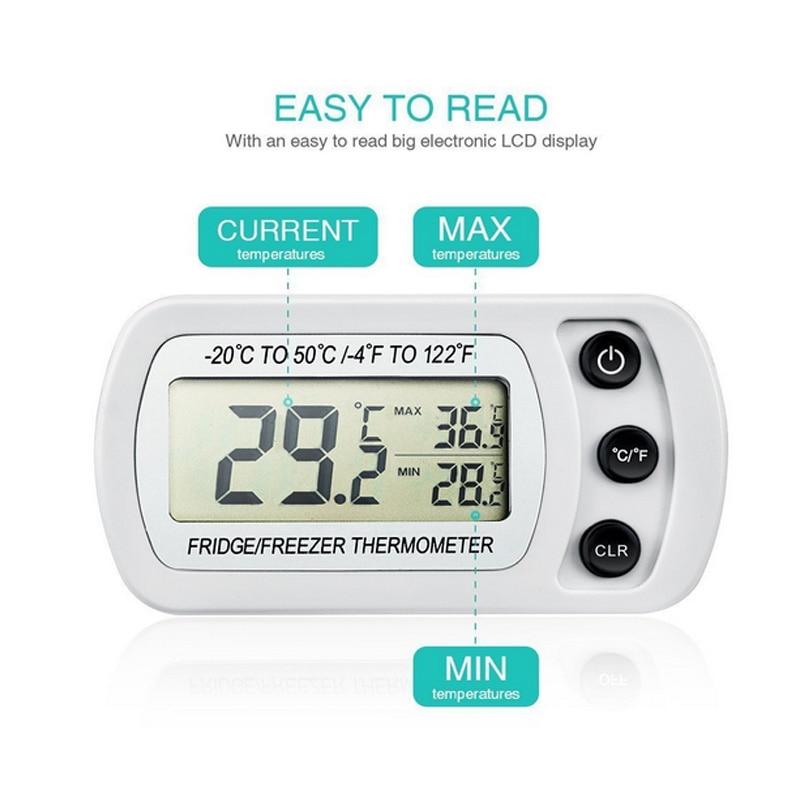 Congélateur Thermomètre avec Crochet Étanche LCD Numérique Affichage Réfrigérateur Thermomètres Fonction Pour La Maison Réfrigérateur
