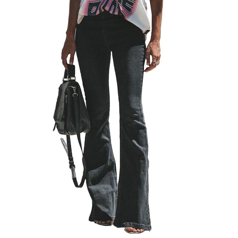 f7f597c3fb6 Cheap Pantalones vaqueros acampanados de cintura alta negros para mujer  elásticos para botas de mujer pantalones