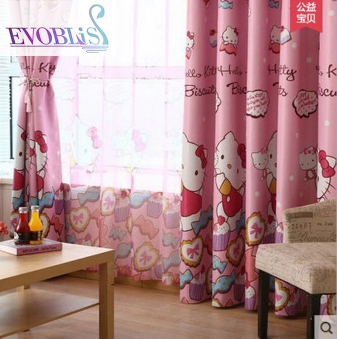 Barns tecknad rosa mörkläggningsgardiner kattflickaprinsessrumrum sovrumsfönsterfönster