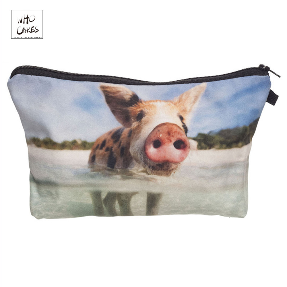 Who Cares Fashion Makeup Bags Cute Pig 3d Printing Cosmetics Pouchs For Travel Ladies Pouch Women Cosmetic Bag