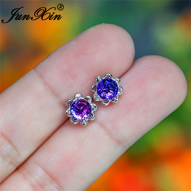 Rainbow Fire Crystal Flower Stud Earrings Silver Color Purple Red Green Zircon Stone Earrings For Women Wedding Earrings CZ