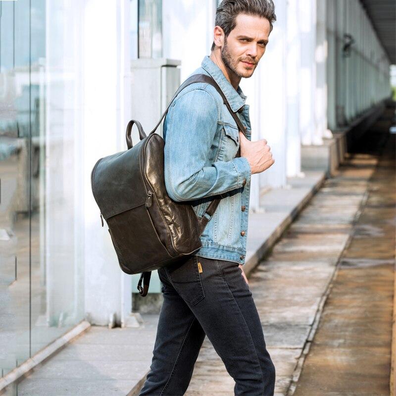 Для мужчин рюкзак натуральная кожа кожаный рюкзак для ноутбука Мужской прочный большая вместительность Многофункциональный Винтаж Бизнес... - 6