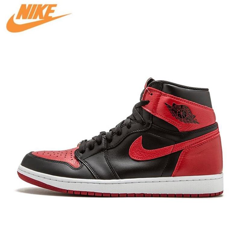 Nike Air Jordan 1 OG Banned AJ1 Breathable Men's Original New Arrival Official Basketball Shoes Sports Sneakers 555088-001 рюкзак nike 2015 aj