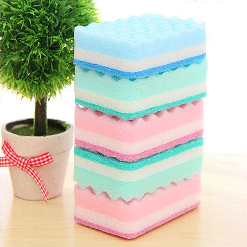 Lovely Soft 5 Pcs/Pack Washing Sponge Kitchen Cleaning Tool Home Essential Color Random Household Wave Sponge