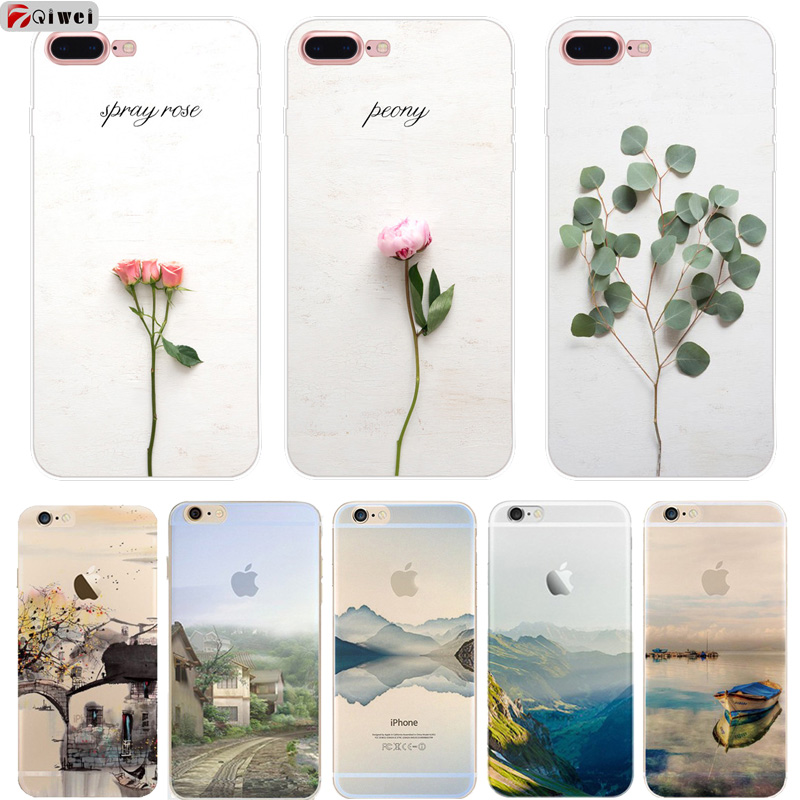 Literary Floral Mountain Green Trees Boat Phone Cases For iphone 6 6S 5 5S SE 7 8 X Transparent Soft TPU Cover For iphone 6 Case
