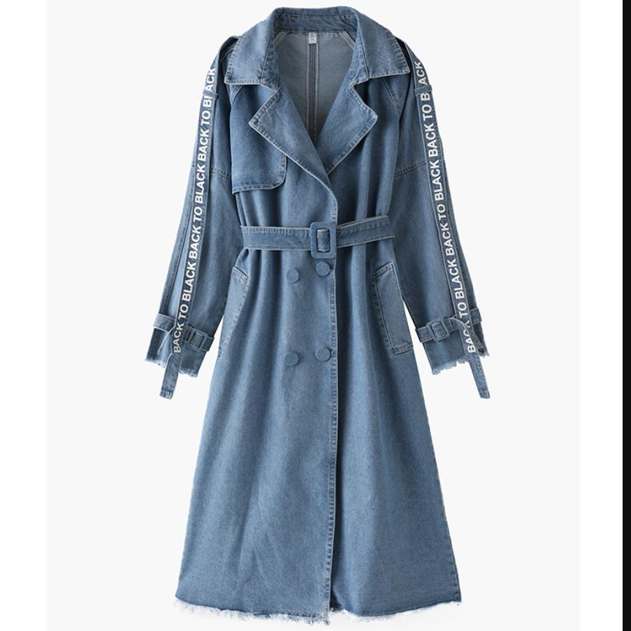 plus size 4XL! autumn Jeans Coat Women Fashion Belt Slim Denim   Trench   Coat Long Sleeve Casual Double Breasted Windbreakers