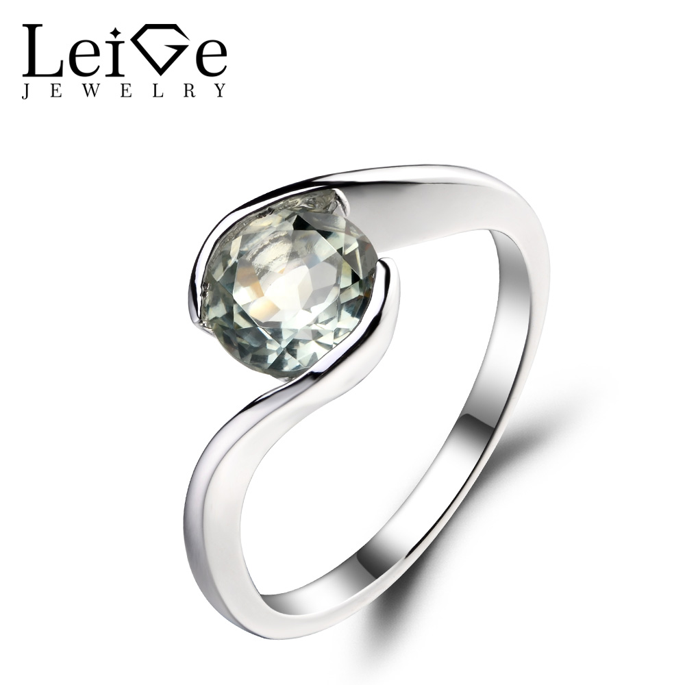 Leige Jewelry 1 25ct Genuine Green Amethyst 925 Sterling Silver Ring Gemstone Round Cut Engagement Promise