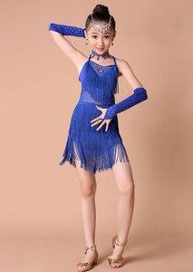 Image 3 - Kids Salsa Dresses Sequin Latin Dance Dress For Girls Fringe Dancing Dancewear Stage Samba Junior Ballroom Standart Costumes