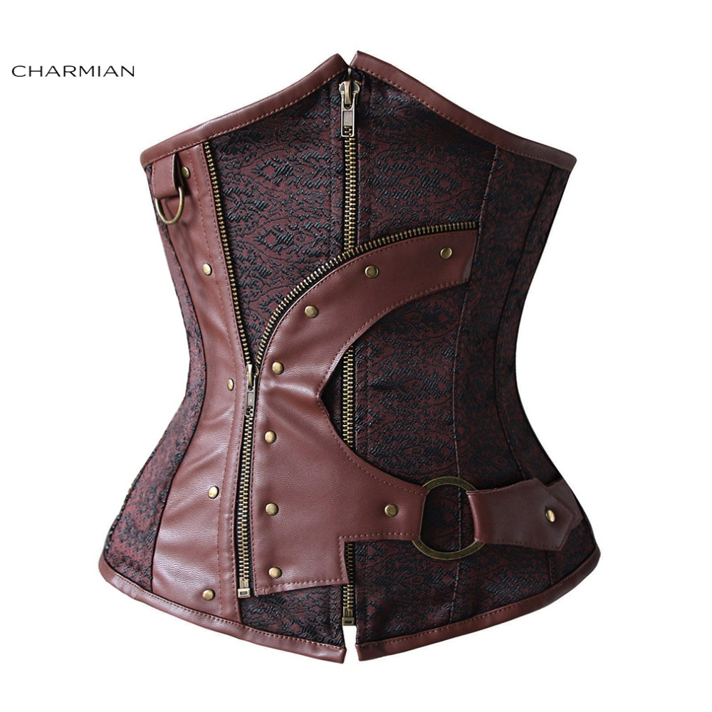 Charmian Gothic Steampunk Corset for Women Steel Boned Underbust Corset Old Fashion Waist Trainer Corset with Zipper and Chains
