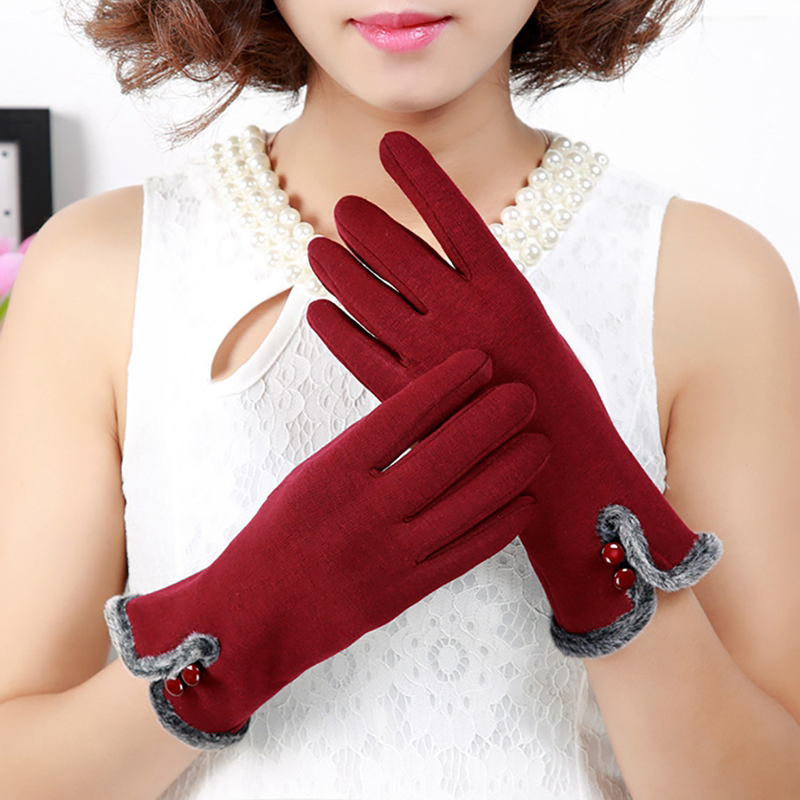 NAIVEROO Waterproof and Warm Touch Screen Gloves made of PU Leather and Conductive Fibers for Women Suitable for Spring and Winter 36
