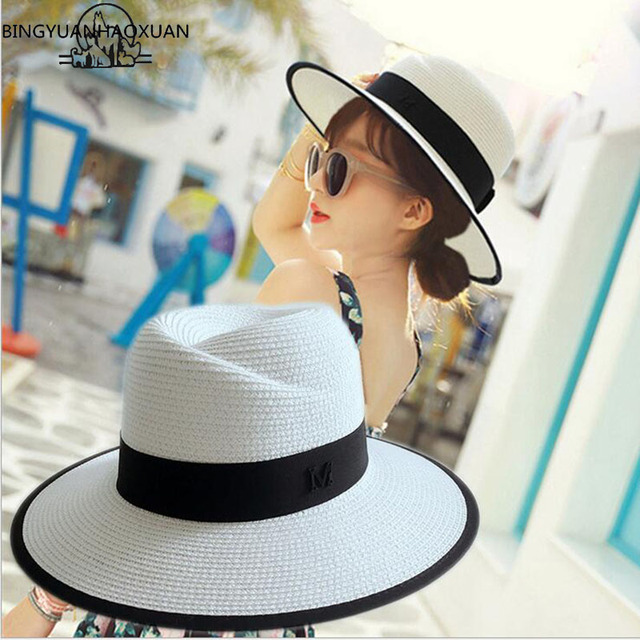 Bingyuanhaoxuan 2017 New Arrival Summer Fashion M Straw Hat Letter For Women Panama Fedora Travel