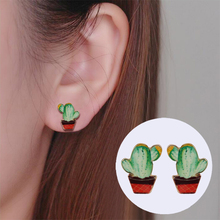 0322347d8 Shuangshuo 2017 New Fashion Vintage Animal Cactus Earrings for Women Cute  Cactus Stud Earrings Retro Party