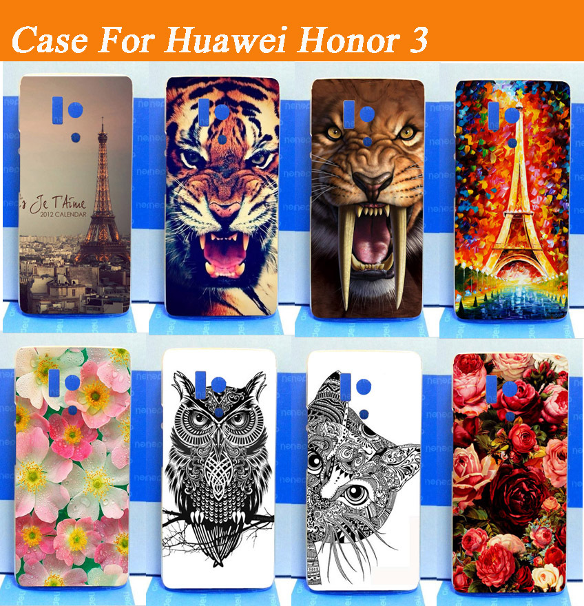 2015 New Fashion Multi Colors Painting Hard Plastic Phone Case For Huawei Honor 3 case cover Tiger Owl Cat Flower Available