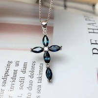 Natural sapphire necklace pendant Cross pendant Origin real sapphire 925 sterling silve