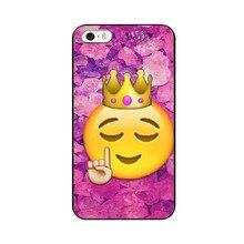 Funny Queen Emoji UV Black Bag Case For iPhone4 4S
