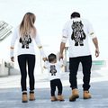 2017 Spring Autumn New Arrival Family Matching Outfits Fashion Mom Dad Kids Long-Sleeve Cotton T shirts  Family Matching Clothes