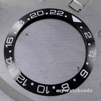 CARVING 38mm Black Ceramic Bezel White Marks Insert For 40mm Sub Watch