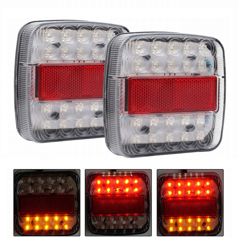 MALUOKASA 2x 46 LED Car Truck Tail Light Rear Lamps Waterproof Taillights Rear Turn Indicator License Plate Lights for Trailer