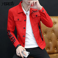 #7423 2018 Slim Fit Denim Mens Jackets And Coats Hip hop Punk Style Ribbons Ripped Jeans Jacket Streetwear White/Red/Grey